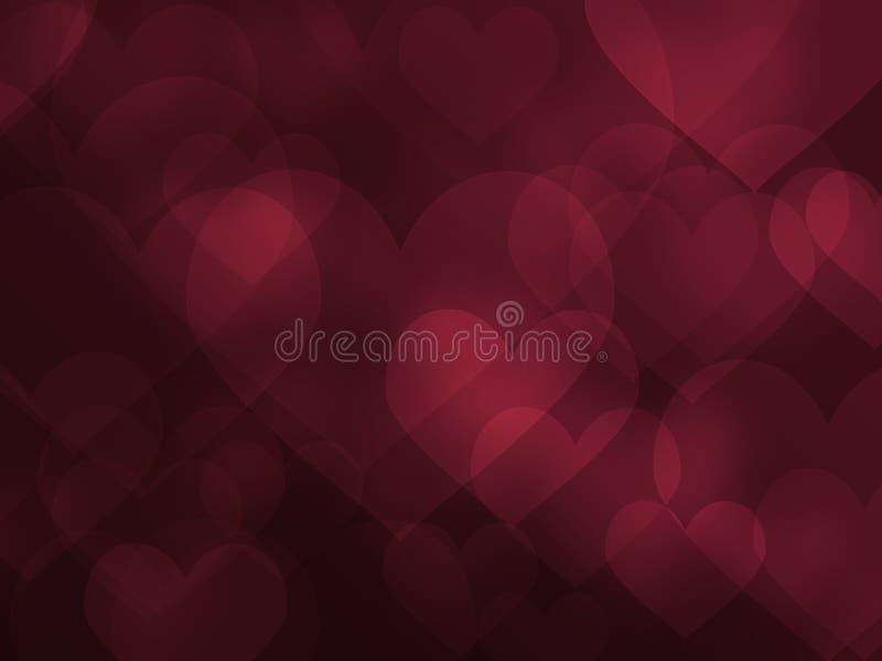 Efeito abstrato do coração e de fundo do amor ilustração do vetor