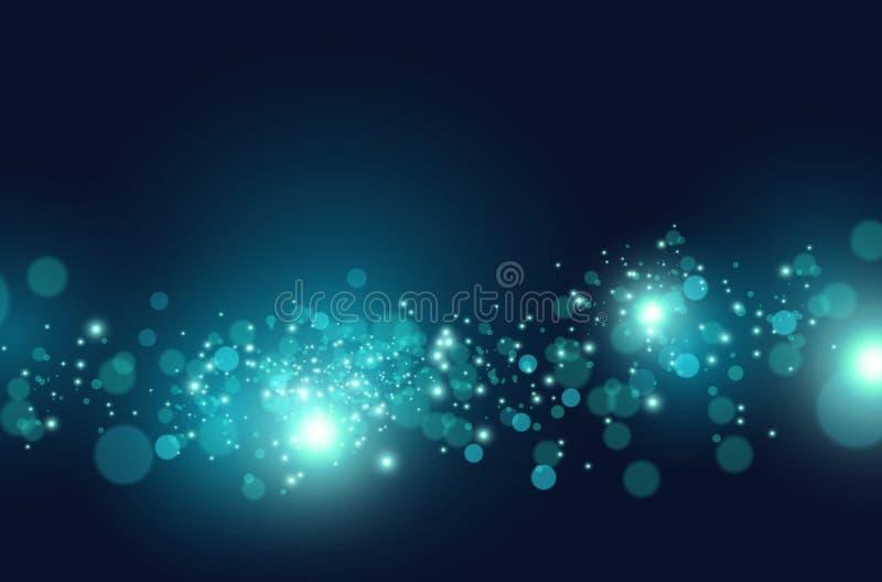 Efeito azul de fluxo das partículas de Digitas ilustração do vetor