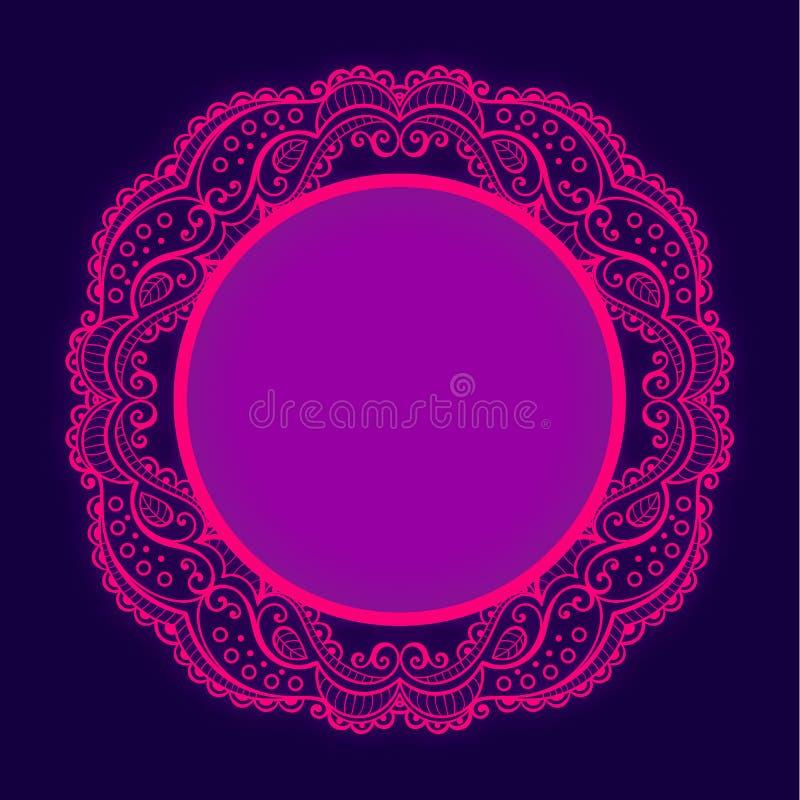 Efeito brilhante do fulgor do whith do quadro do laço do círculo do vetor ilustração royalty free
