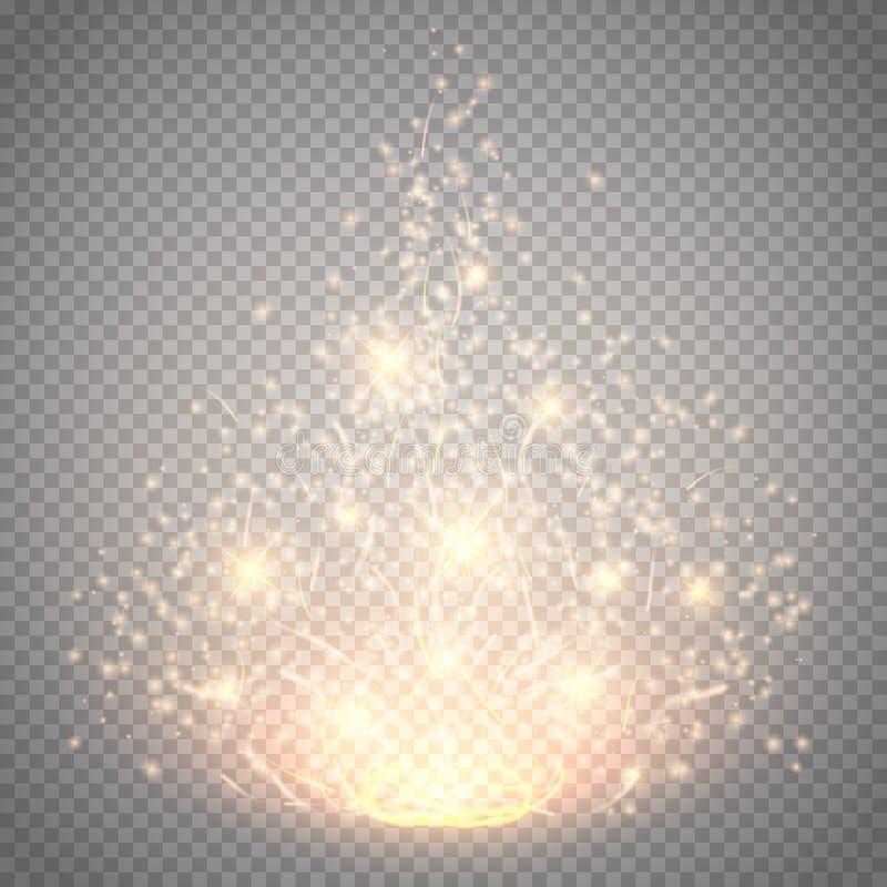 Efeito claro mágico do vetor A luz, o alargamento, a estrela e a explosão do efeito especial do fulgor isolaram a faísca ilustração royalty free