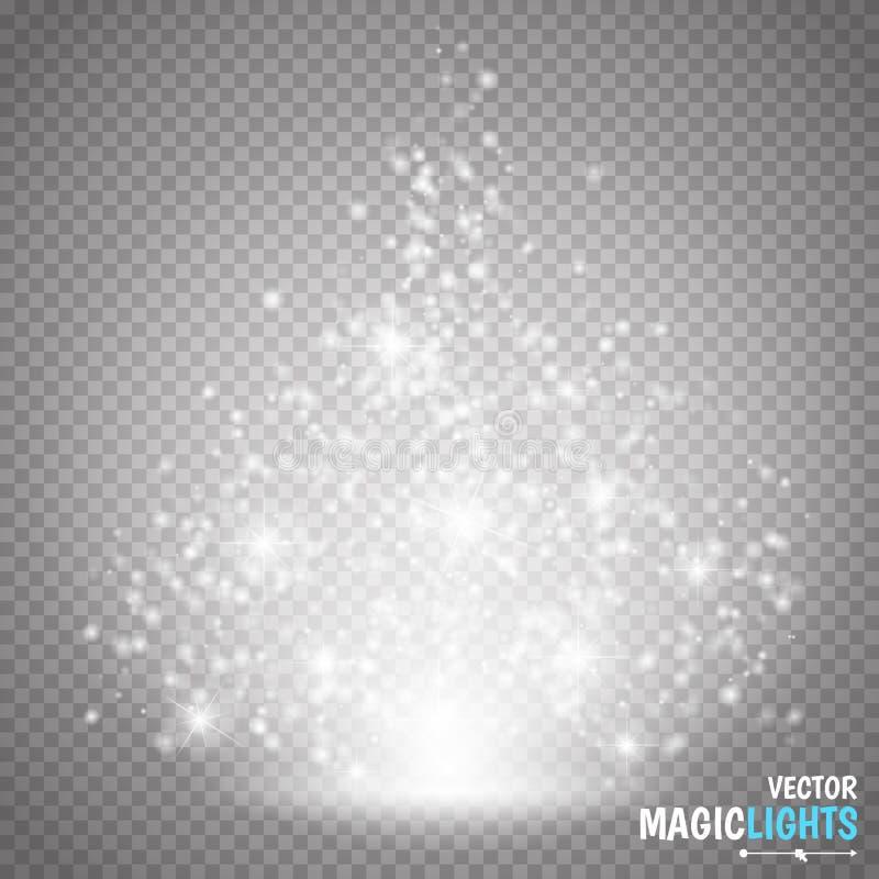 Efeito claro mágico do vetor A luz, o alargamento, a estrela e a explosão do efeito especial do fulgor isolaram a faísca ilustração stock