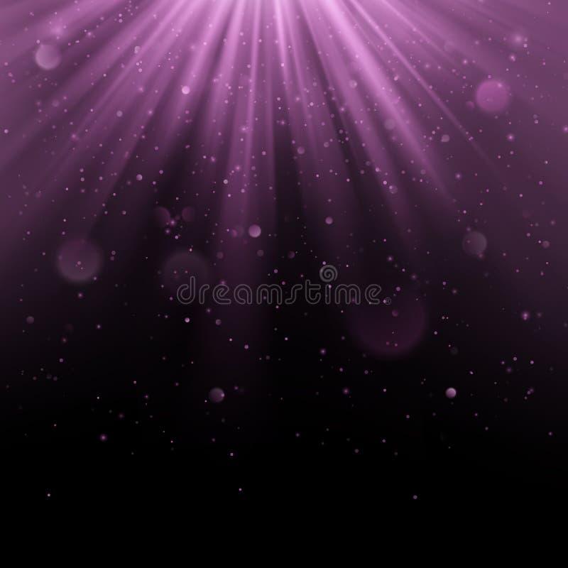 Efeito coberto roxo do sumário Vislumbrando o objeto com fundo dos raios Queda clara do fulgor para baixo e alargamento claro ilustração royalty free