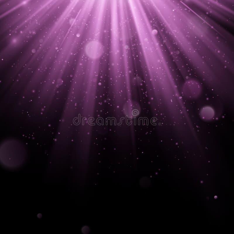 Efeito coberto roxo do sumário Vislumbrando o objeto com fundo dos raios Queda clara do fulgor para baixo e alargamento claro ilustração stock