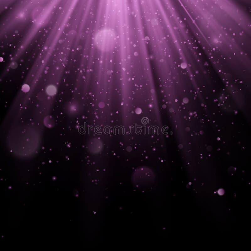 Efeito coberto roxo do sumário Vislumbrando o objeto com fundo dos raios Queda clara do fulgor para baixo e alargamento claro ilustração do vetor