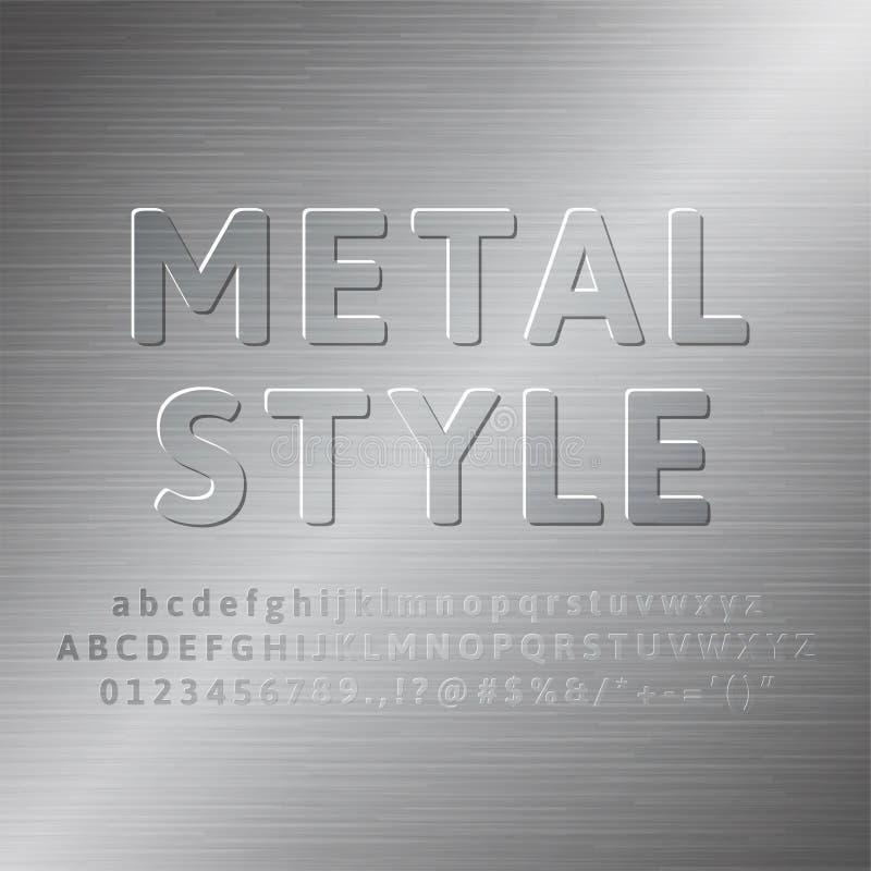 Efeito da fonte do alfabeto 3d do metal ilustração do vetor