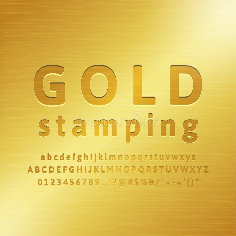 efeito da fonte do carimbo de ouro do alfabeto 3d ilustração royalty free