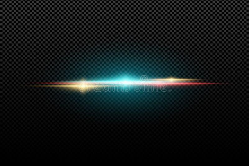 Efeito da luz à moda brilhante abstrato em um fundo transparente Alargamentos coloridos Flash colorido Ilustração do vetor ilustração do vetor
