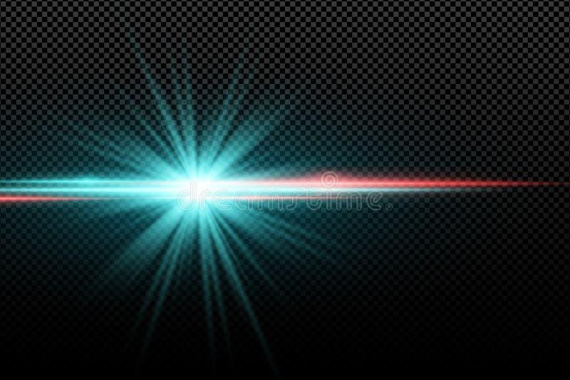 Efeito da luz à moda brilhante abstrato em um fundo transparente Estrela de incandescência brilhante Alargamentos coloridos Raias ilustração do vetor