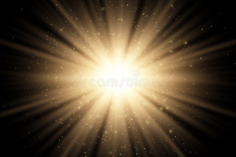 Efeito da luz à moda dourado do sumário em um fundo preto Raios mágicos dourados e brilhos dourados de voo Explosão brilhante ilustração do vetor