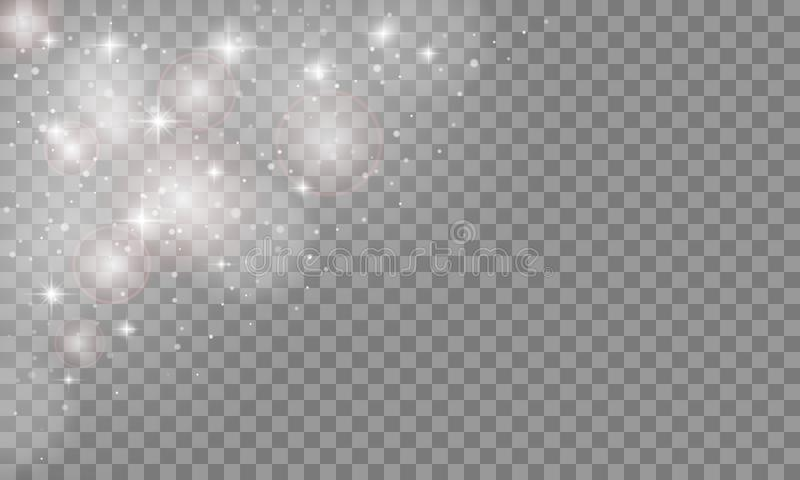 Efeito da luz ajustado do fulgor isolado no fundo transparente Flash de Sun ou explosão da estrela com sparkles Ilustração do vet ilustração do vetor