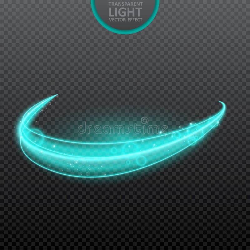 Efeito da luz azul no fundo transparente com sparkles realísticos Luz m?gica Efeito da luz de incandesc?ncia do redemoinho Ilustr ilustração royalty free