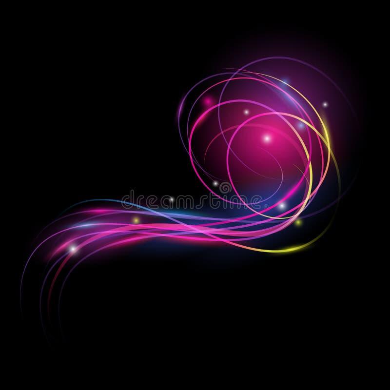 Efeito da luz bonito do vetor Luzes coloridas com flash Vector o fundo com o efeito do néon e incandesça ilustração do vetor