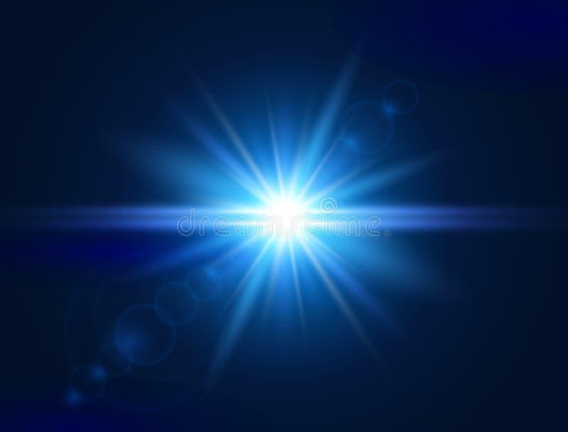 Efeito da luz de incandescência Alargamento azul da lente Luz do brilho estrela da explosão Flash com raios e projetor Ilustração ilustração do vetor