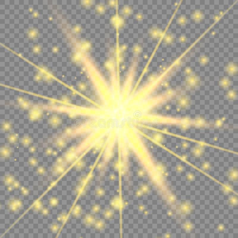 Efeito da luz de incandescência dourado ilustração do vetor