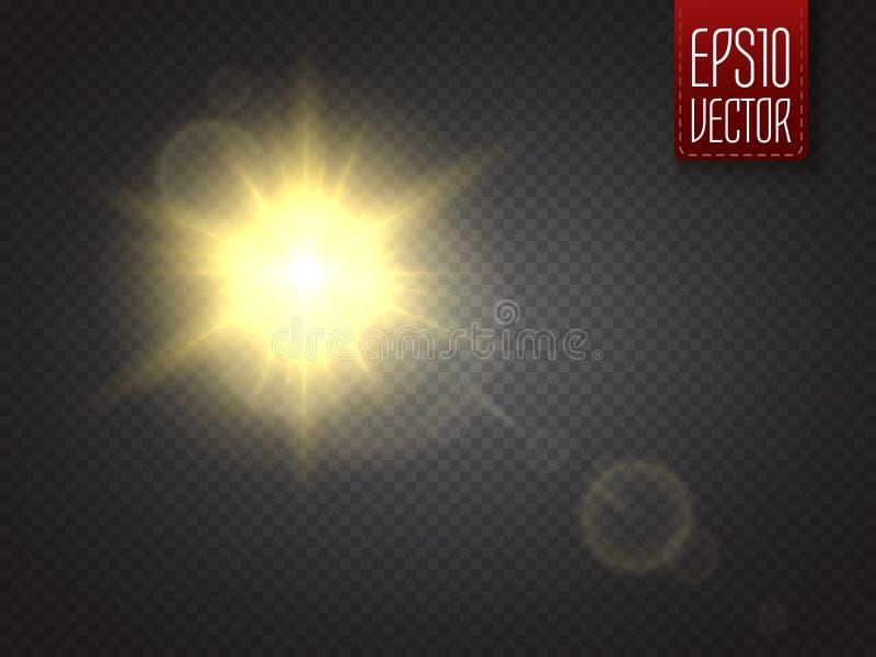 Efeito da luz do alargamento da lente Raios de Sun com os feixes isolados Vetor ilustração stock