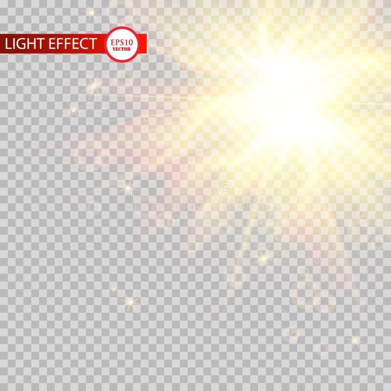 Efeito da luz do alargamento da lente Sun irradia com os feixes isolados no fundo transparente Ilustração do vetor ilustração royalty free