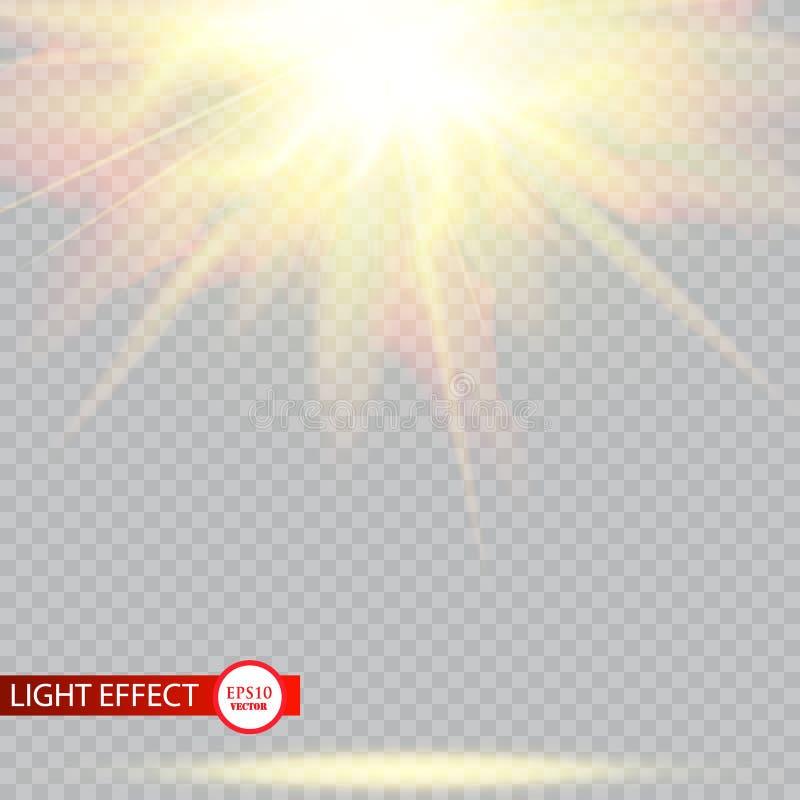 Efeito da luz do alargamento da lente Sun irradia com os feixes isolados no fundo transparente Ilustração do vetor ilustração do vetor