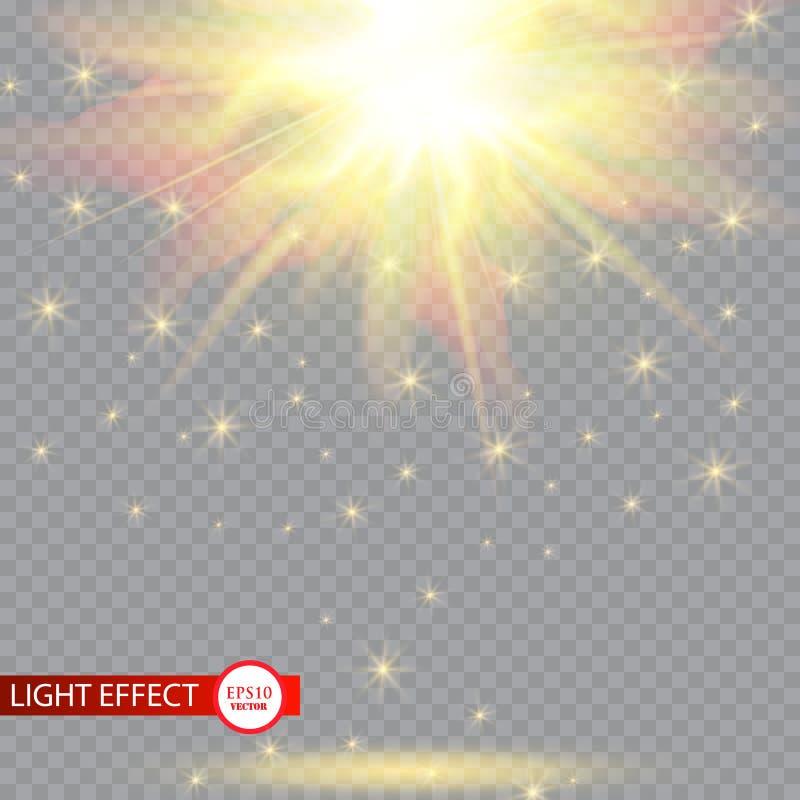 Efeito da luz do alargamento da lente Sun irradia com os feixes isolados no fundo transparente Ilustração do vetor ilustração stock