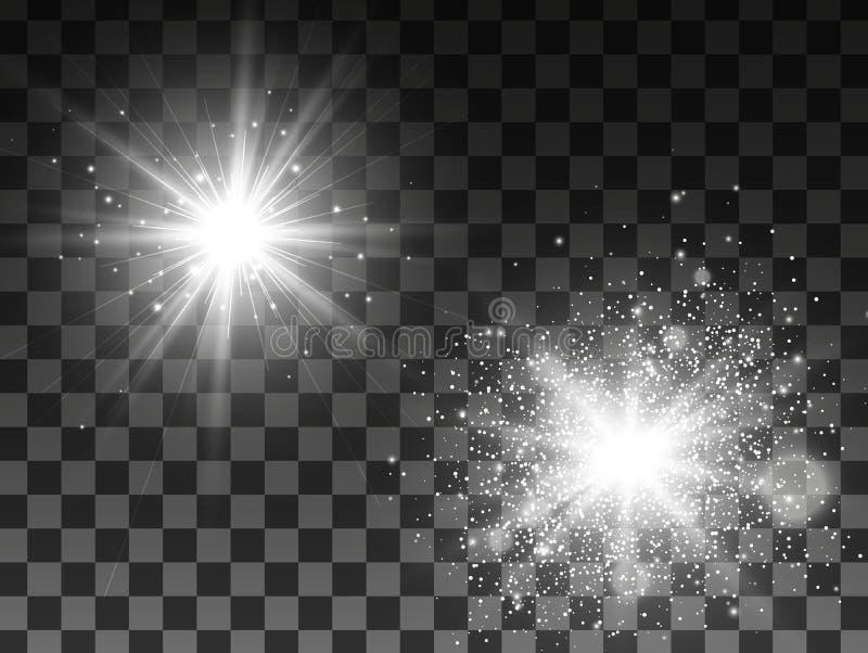 Efeito da luz do fulgor Explosão da estrela com Sparkles Ilustração do vetor ilustração stock