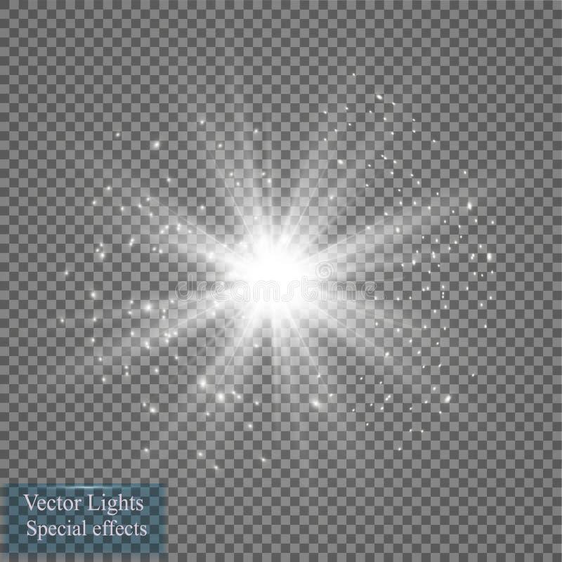Efeito da luz do fulgor Explosão da estrela com Sparkles Ilustração do vetor Sun ilustração do vetor