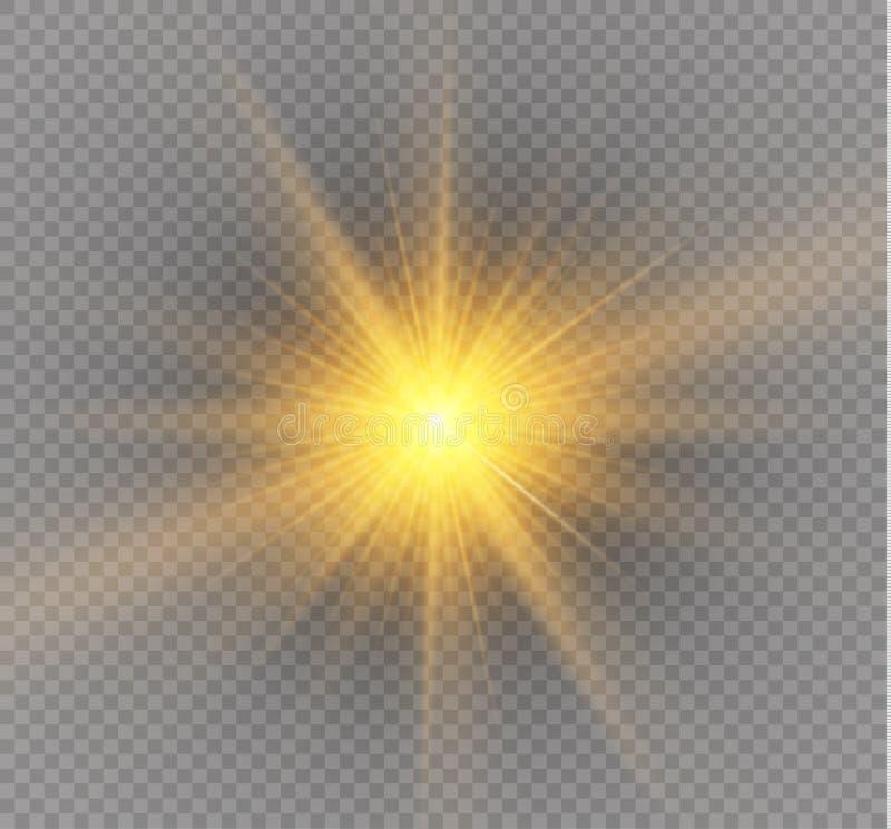 Efeito da luz do fulgor Explosão da estrela com Sparkles Ilustração do vetor ilustração do vetor