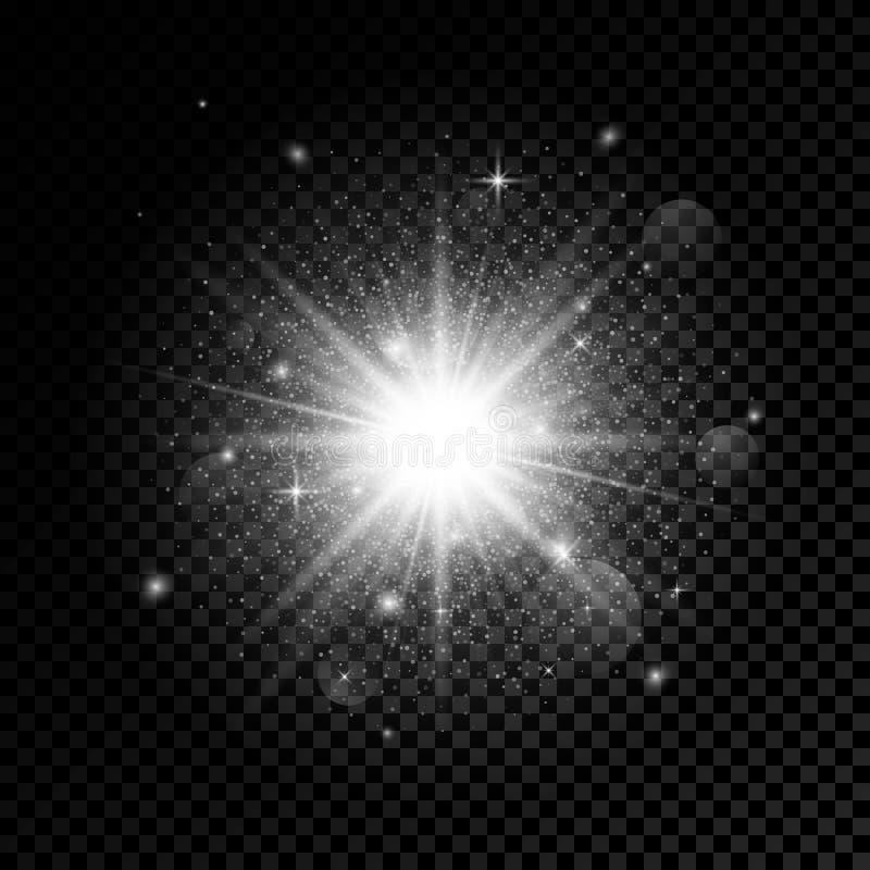 Efeito da luz do fulgor Explosão da estrela com Sparkles Ilustração do vetor isolada no fundo transparente ilustração royalty free
