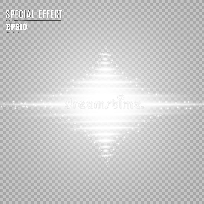 Efeito da luz do fulgor Explosão da estrela com Sparkles Sun ilustração stock