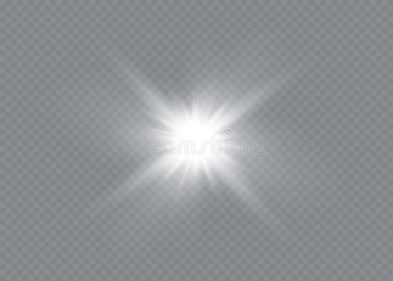 Efeito da luz do fulgor Explos?o da estrela com Sparkles Sun ilustração royalty free