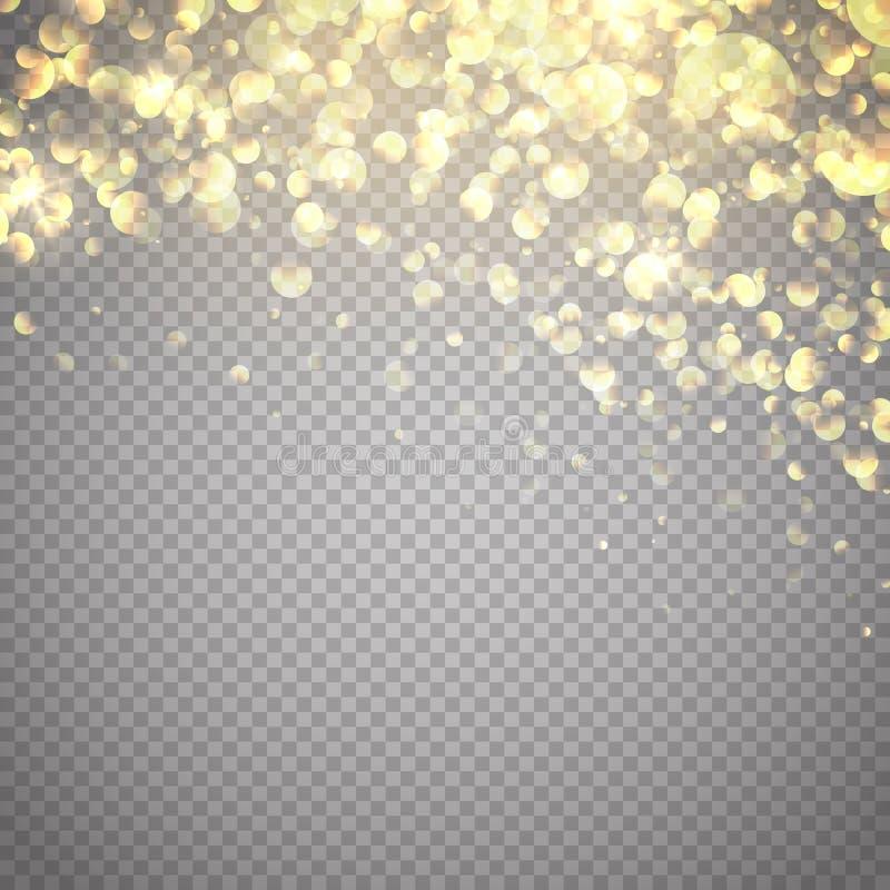 Efeito da luz do fulgor Ilustração do vetor Fundo das partículas do brilho do ouro ilustração do vetor