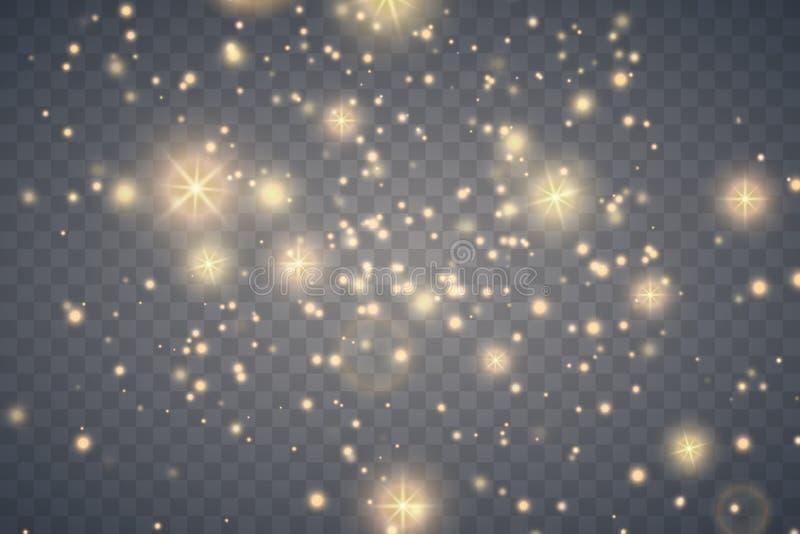 Efeito da luz do fulgor Poeira da faísca do ouro ilustração stock