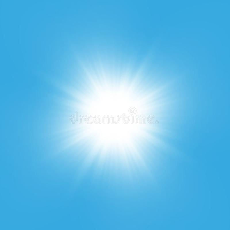 Efeito da luz do fulgor Starburst com sparkles no fundo azul Ilustração do vetor Sun ilustração royalty free