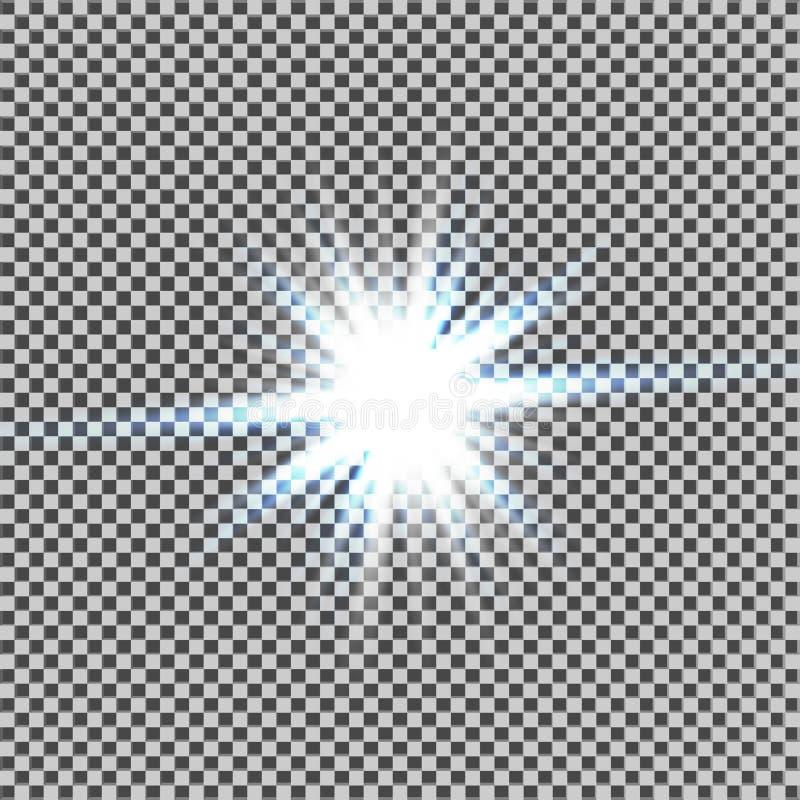 Efeito da luz do fulgor Starburst com sparkles no fundo transparente Ilustração do vetor Sun Flash do Natal poeira ilustração royalty free