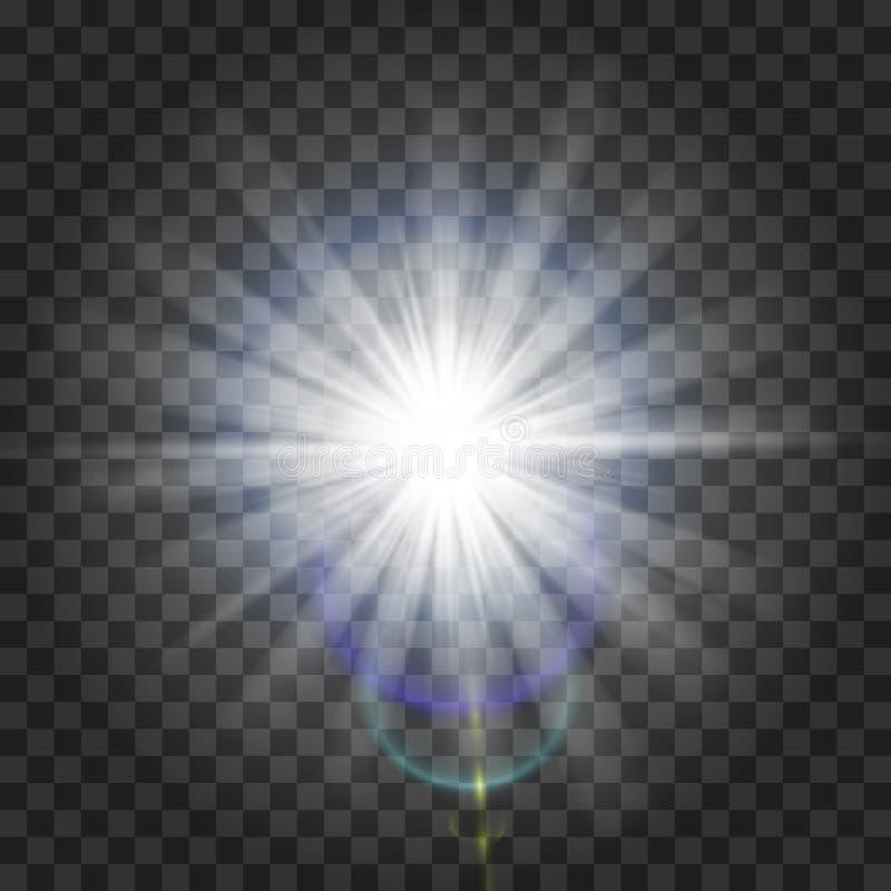 Efeito da luz do fulgor Starburst com sparkles no fundo transparente Ilustração do vetor Sun Flash do Natal poeira fotografia de stock royalty free