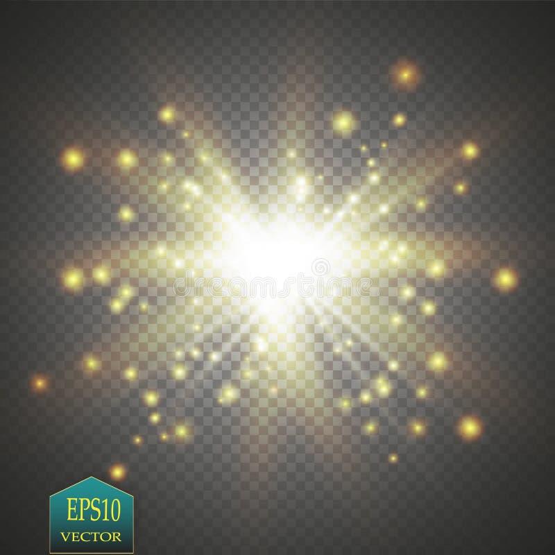 Efeito da luz do fulgor Starburst com sparkles no fundo transparente Ilustração do vetor ilustração royalty free