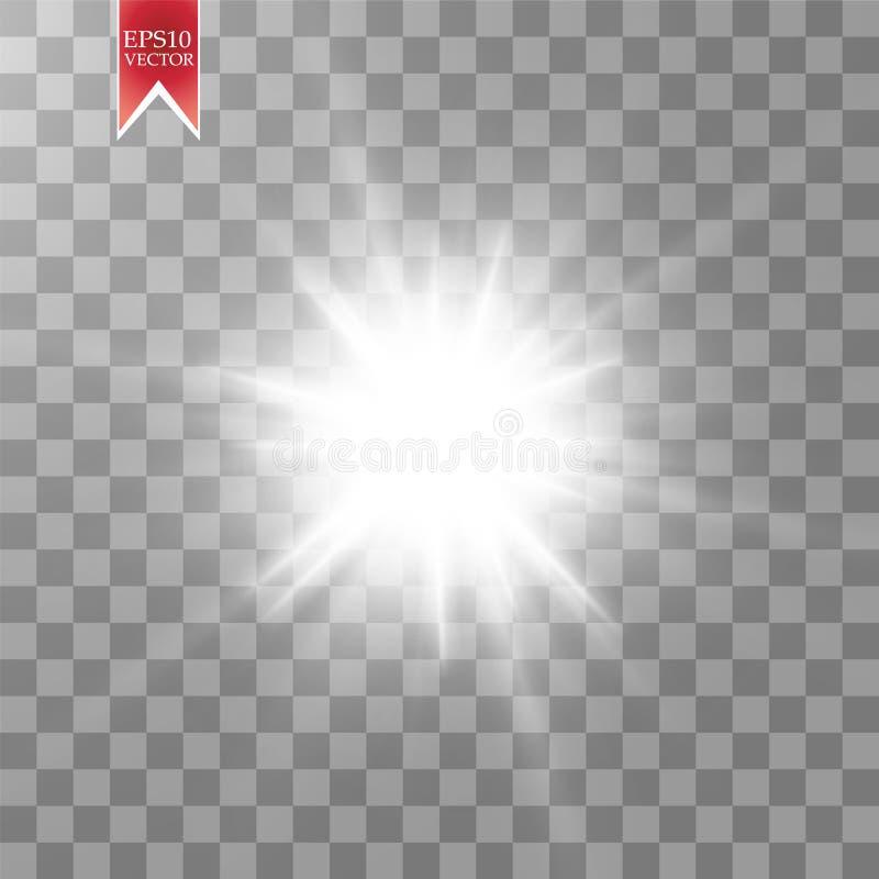 Efeito da luz do fulgor Starburst com sparkles no fundo transparente Ilustração do vetor ilustração do vetor