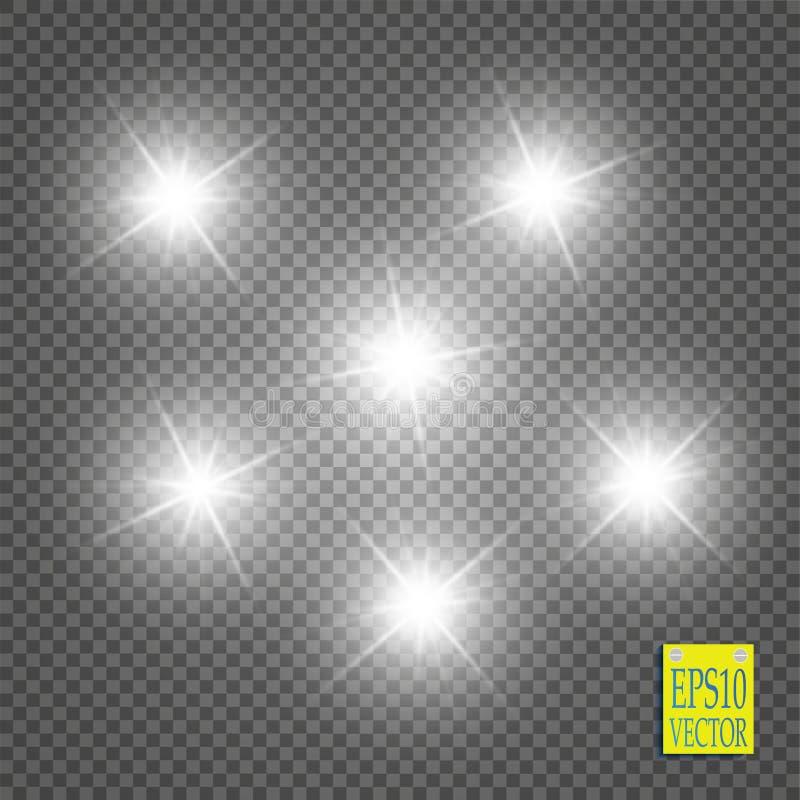 Efeito da luz do fulgor Starburst com sparkles no fundo transparente Ilustração do vetor ilustração stock