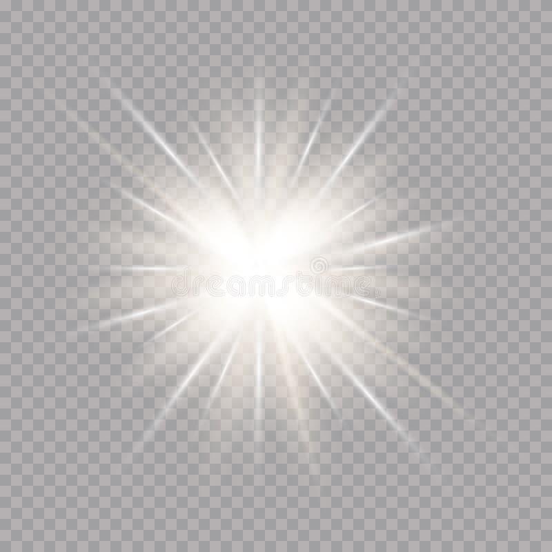Efeito da luz do fulgor Starburst com sparkles no fundo transparente Ilustração do vetor Sun ilustração do vetor