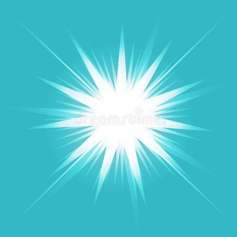 Efeito da luz do fulgor Starburst com sparkles no fundo transparente Ilustração do vetor Sun ilustração stock