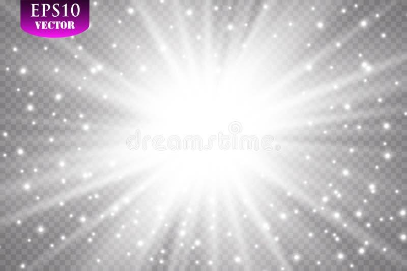 Efeito da luz do fulgor Starburst com sparkles no fundo transparente Ilustração do vetor Sun, EPS 10 ilustração do vetor