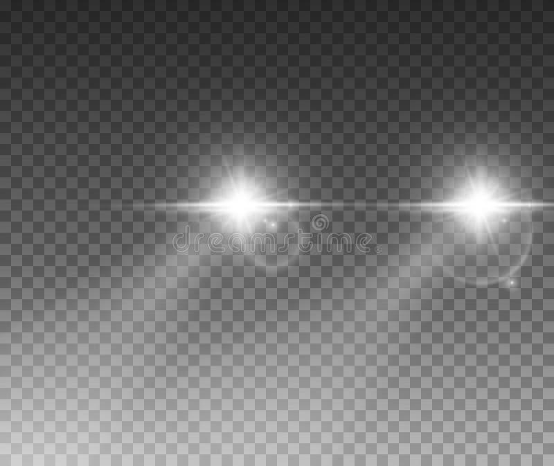 Efeito da luz dos carros Os feixes brilhantes do farol do carro do fulgor branco irradiam isolado no fundo transparente ilustração royalty free