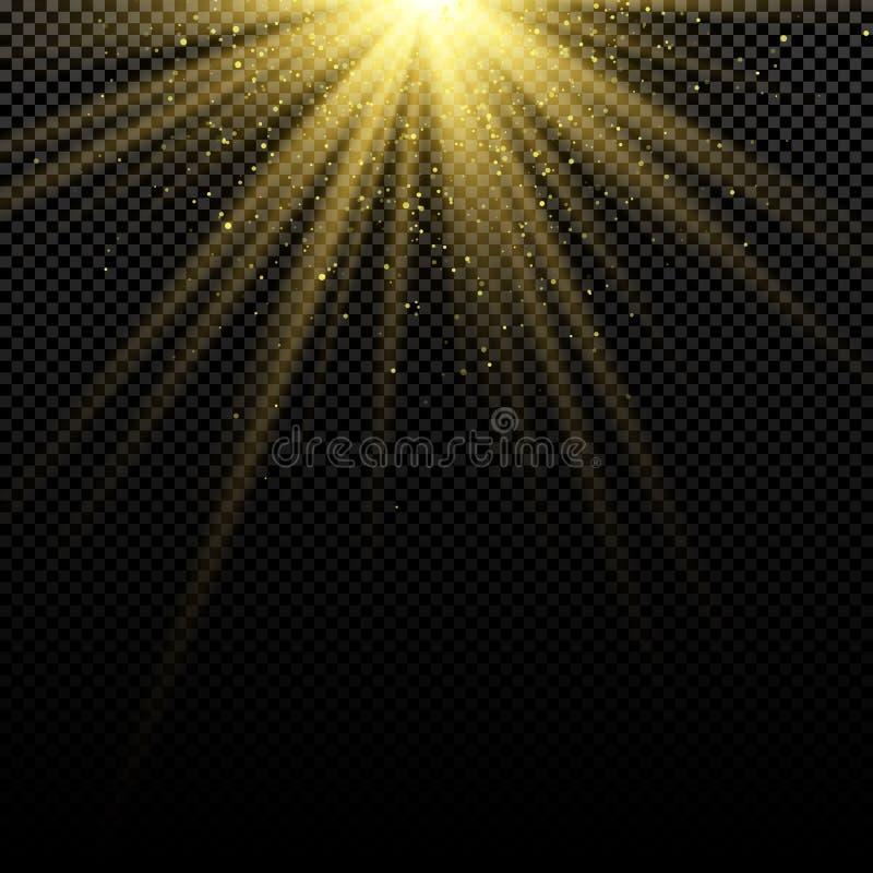 Efeito da luz dourado à moda abstrato no fundo escuro Alargamentos brilhantes Raias brilhantes Explosão mágica Luz solar com ouro ilustração stock