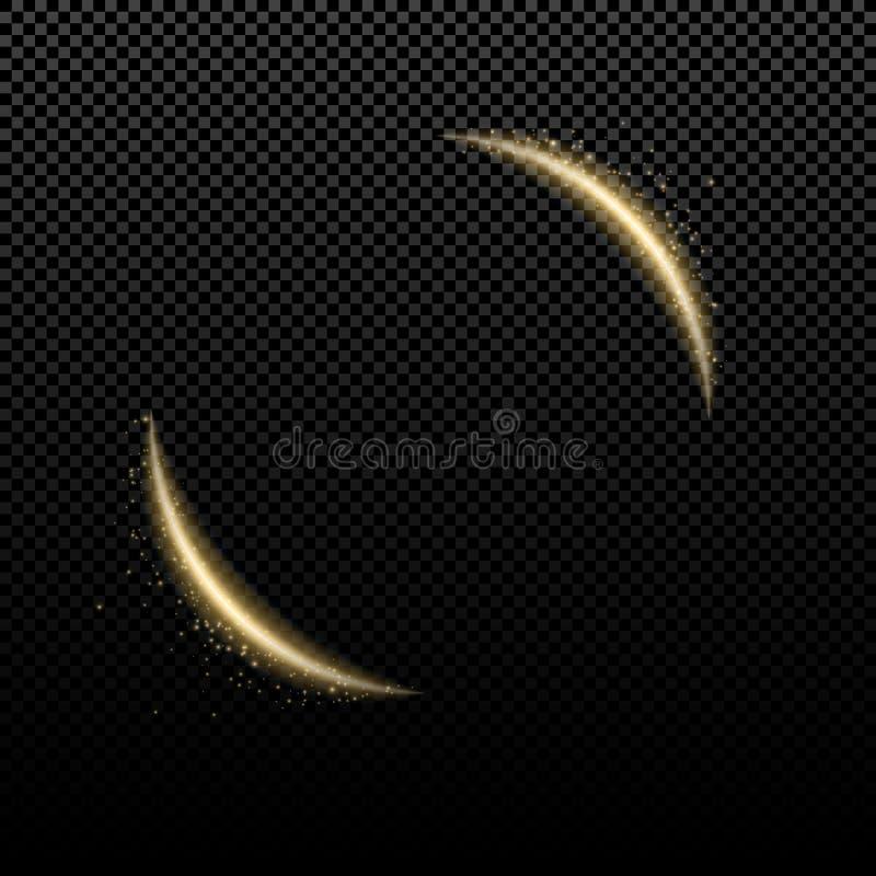 Efeito da luz dourado abstrato As linhas de néon luminosas curvadas com voo iluminam-se em um fundo transparente Efeito da luz re ilustração stock