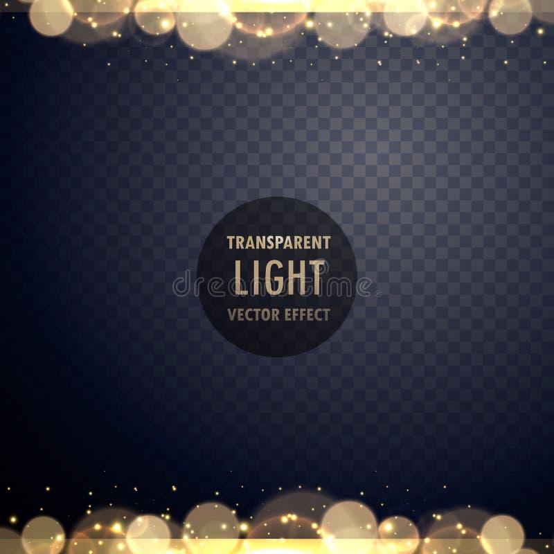 Efeito da luz dourado abstrato do bokeh com sparkles ilustração do vetor