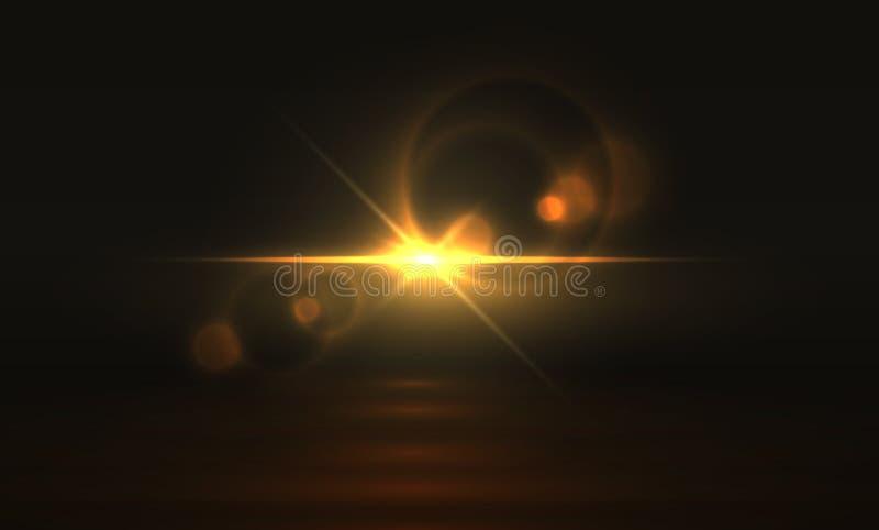 Efeito da luz dourado Fundo de incandescência do alargamento, brilho transparente realístico da faísca mágica amarela do sumário  ilustração stock