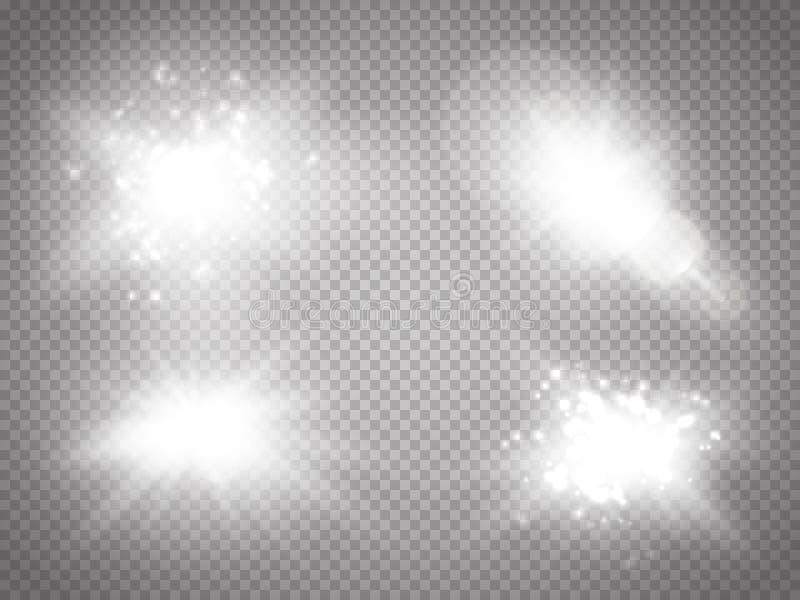 Efeito da luz especial do alargamento da lente da luz solar transparente do vetor Flash de Sun com raios e projetor Efeito da luz ilustração royalty free