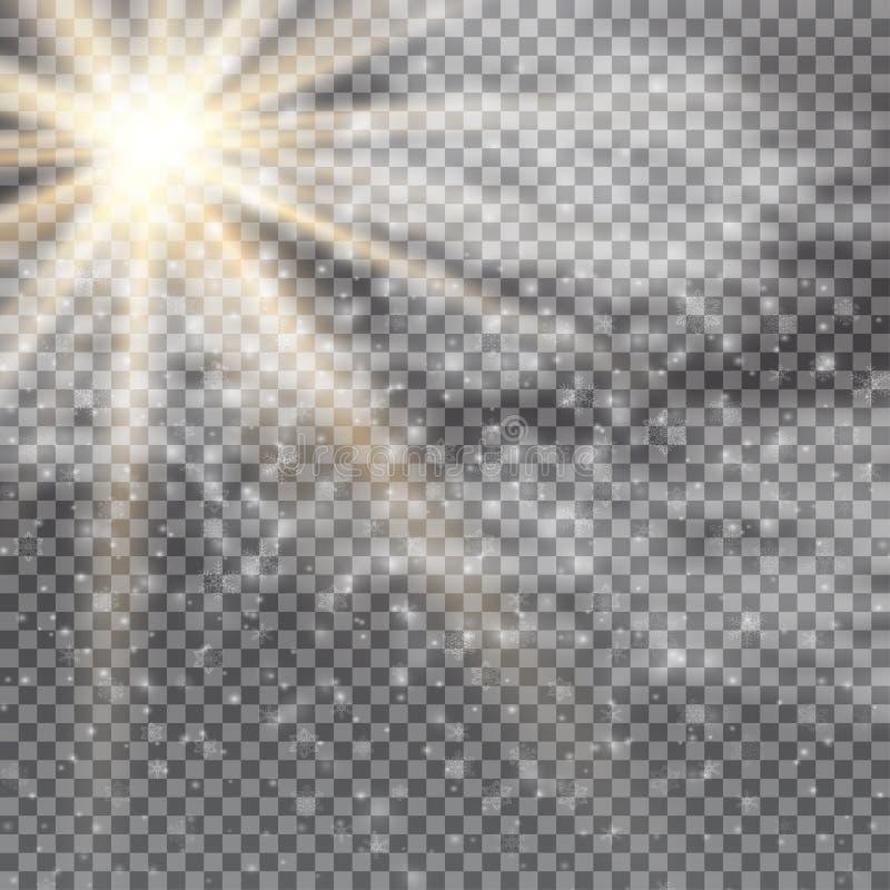 Efeito da luz especial do alargamento da lente da luz solar transparente do vetor Flash de Sun com raios, neve, nuvens e projetor ilustração stock
