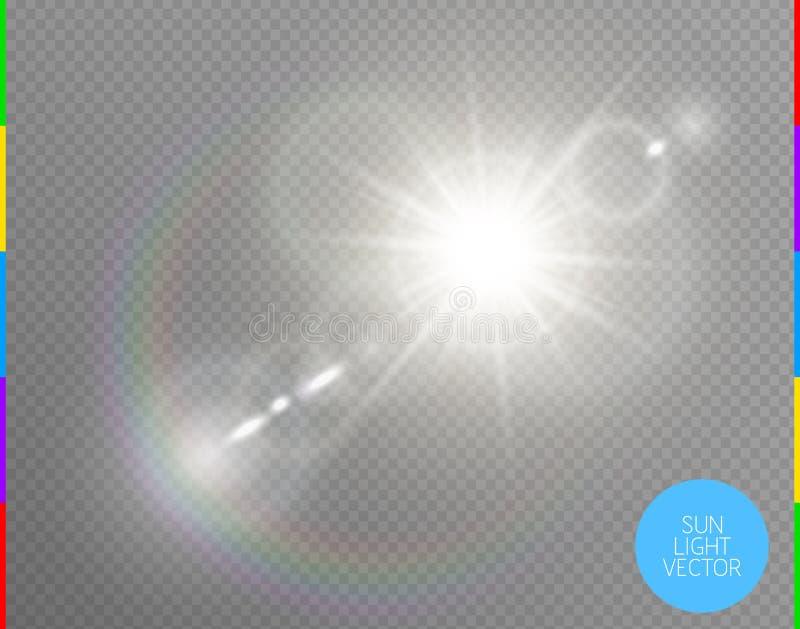 Efeito da luz especial do alargamento da lente da luz solar transparente do vetor Projetor instantâneo isolado dos raios do sol L ilustração stock