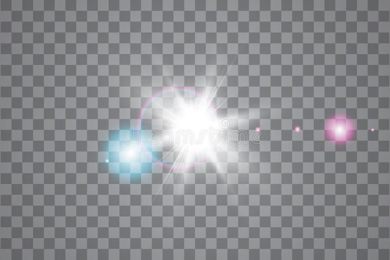 Efeito da luz especial do alargamento da lente da luz solar transparente do vetor Sun isolou-se no fundo transparente Efeito da l ilustração royalty free