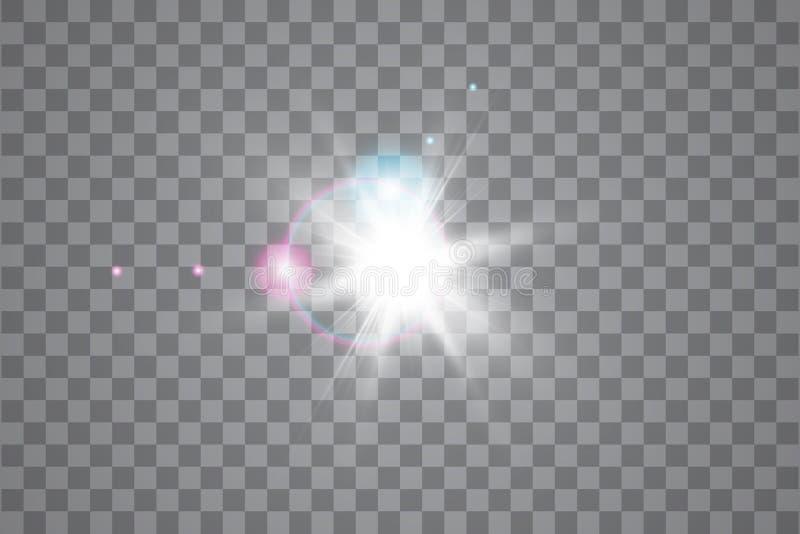 Efeito da luz especial do alargamento da lente da luz solar transparente do vetor Sun isolou-se no fundo transparente Efeito da l ilustração stock