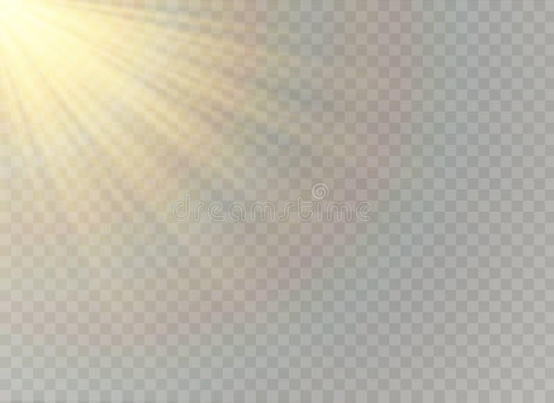 Efeito da luz especial do alargamento da lente da luz solar transparente do vetor Teste padrão abstrato do Natal Partículas de po ilustração royalty free